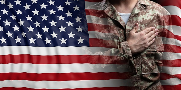United States of America flag and soldier with hand on his heart. 3d illustration 1061767786