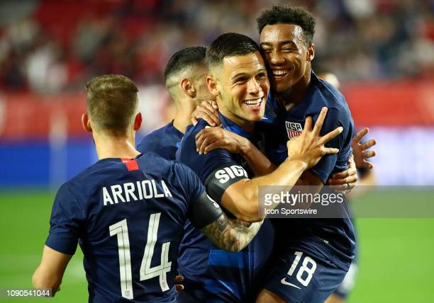 United States of America forward Christian Ramirez celebrates a goal with teammates during the international friendly between the United States Men's...