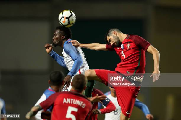 United States of America forward CJ Sapong heads the ball during the match between Portugal and United States of America International Friendly at...