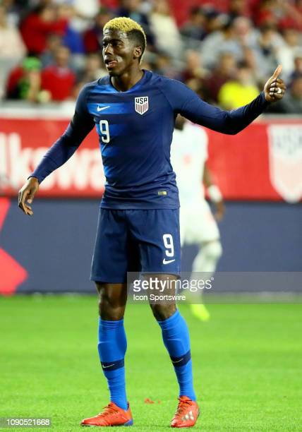 United States of America forward Gyasi Zardes gives a thumbs up during the international friendly between the United States Men's National Team and...