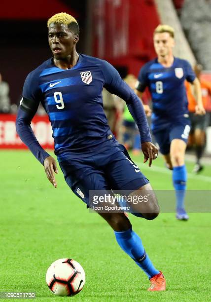 United States of America forward Gyasi Zardes runs up field during the international friendly between the United States Men's National Team and...