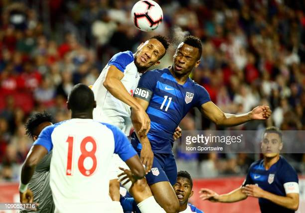 United States of America forward Jeremy Ebobisse heads the ball during the international friendly between the United States Men's National Team and...