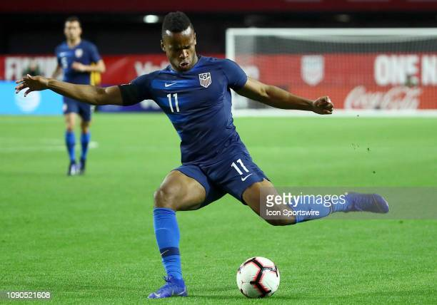 United States of America forward Jeremy Ebobisse shoots the ball during the international friendly between the United States Men's National Team and...