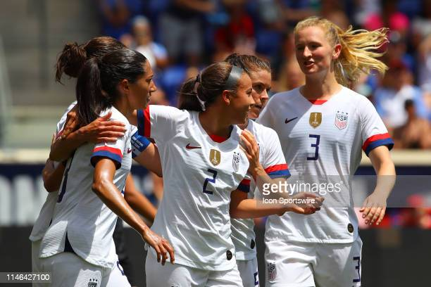 United States of America forward Mallory Pugh celebrates after scoring during the 2nd half of the International Friendly match between the US Women's...