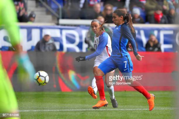 United States of America forward Mallory Pugh shoots the ball during the first half of the SheBelieves Cup Womens Soccer game between the United...