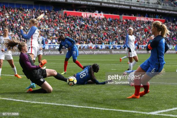 United States of America goalkeeper Alyssa Naeher makes a save during the first half the SheBelieves Cup Womens Soccer game between the United States...