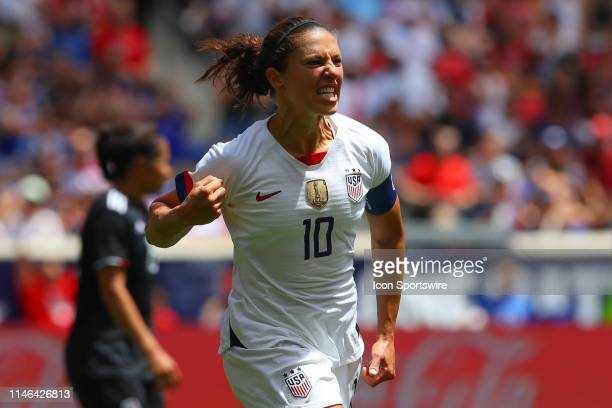 United States of America midfielder Carli Lloyd reacts during the 2nd half of the International Friendly match between the US Women's National Team...