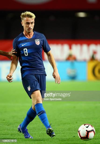 United States of America midfielder Djordje Milhailovic passes the ball during the international friendly between the United States Men's National...