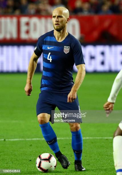 United States of America midfielder Michael Bradley possesses the ball during the international friendly between the United States Men's National...
