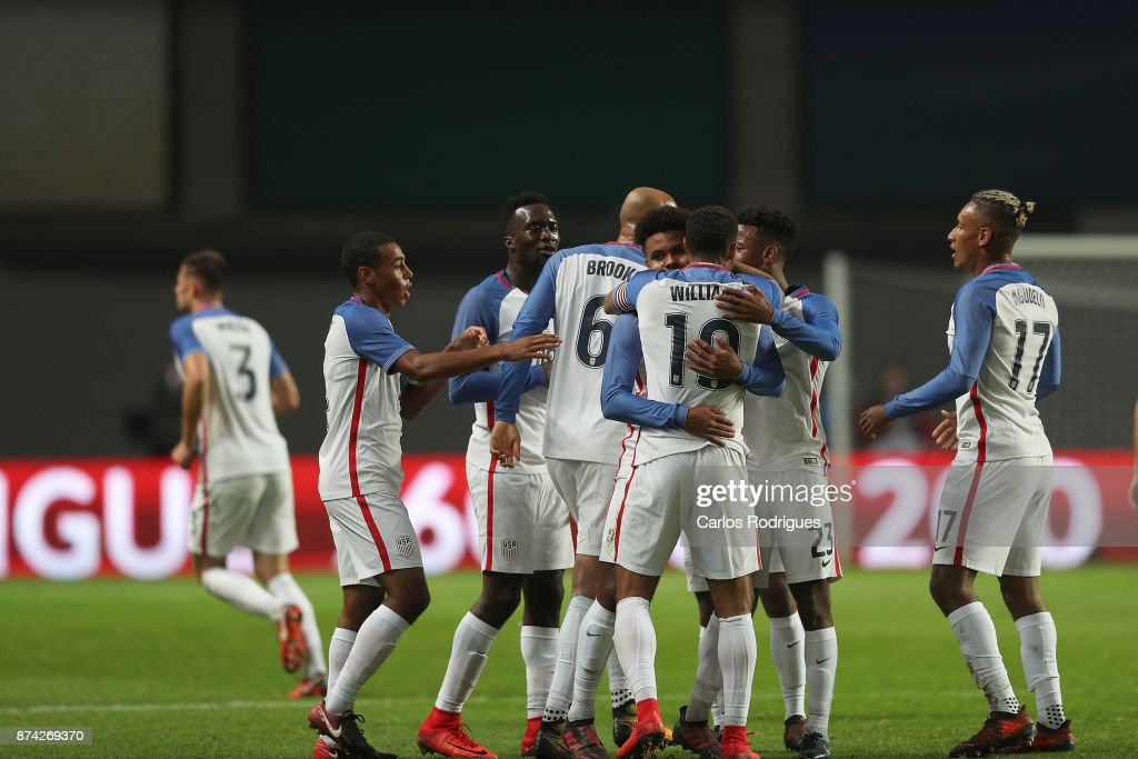 United States of America midfielder Weston McKennie celebrates scoring USA goal with his team mates during the match between Portugal and United States of America International Friendly at Estadio Municipal de Leiria, on November 14, 2017 in Leiria, Portugal.