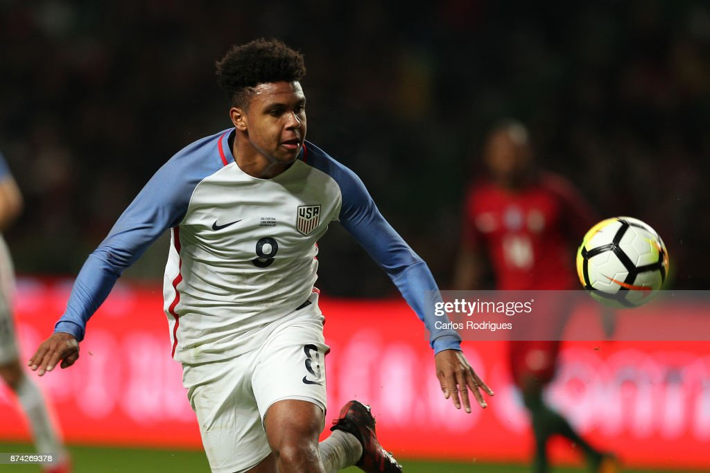 United States of America midfielder Weston McKennie during the match between Portugal and United States of America International Friendly at Estadio Municipal de Leiria, on November 14, 2017 in Leiria, Portugal.