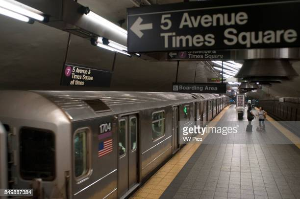 United States of America New York New York City Manhattan Subway Station and train in motion