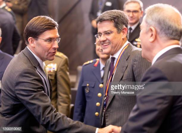 United States of America Secretary of Defense Mark Thomas Esper is shaking hands with the Turkish Defense Minister Hulusi Akar during the first...