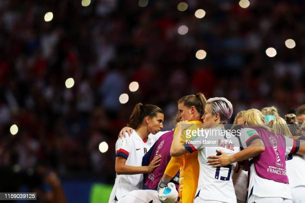 United States of America team huddle ahead of the second half during the 2019 FIFA Women's World Cup France Quarter Final match between France and...