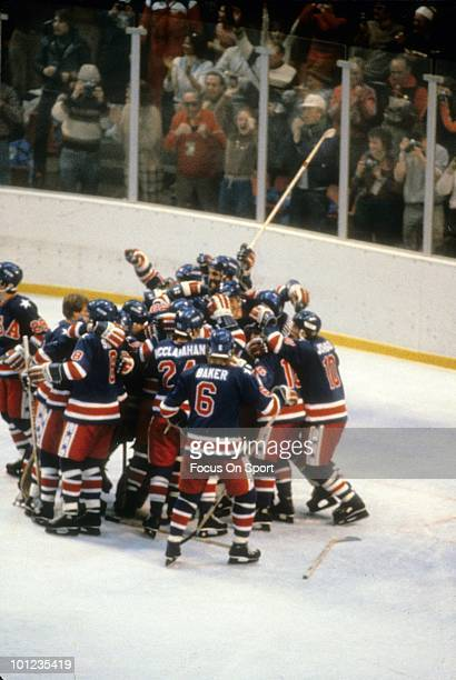 United States Olympic Hockey players in jubilation after beating the Finland hockey team to win the Gold Medal February 24 1980 during the Winter...