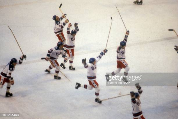 United States Olympic Hockey players jump with jubilation after beating the Soviet Union hockey team in the semi-finals hockey game February 22, 1980...
