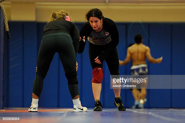 United States Olympic hopeful Adeline Gray grapples with teammate Alli Ragan during practice on Thursday March 31 2016 Gray who is a threetime world...
