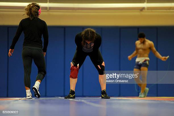 United States Olympic hopeful Adeline Gray takes a breather during practice on Thursday March 31 2016 Gray who is a threetime world champion is a...