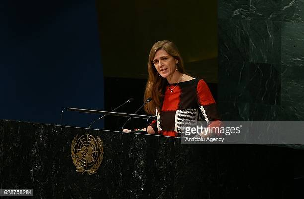 United States permanent Ambassador to the United Nations Samantha Power delivers a speech during the UN General Assembly meeting on Syria in New York...