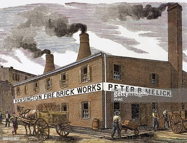 United States Philadelphia Kensington Fire Brick Works 1884 Engraving Colored