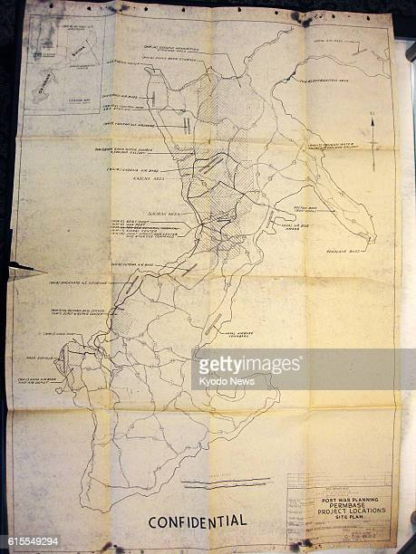 WASHINGTON United States Photo shows a map of Okinawa with proposed major US military facilities created by the US Army in October 1946 that has been...