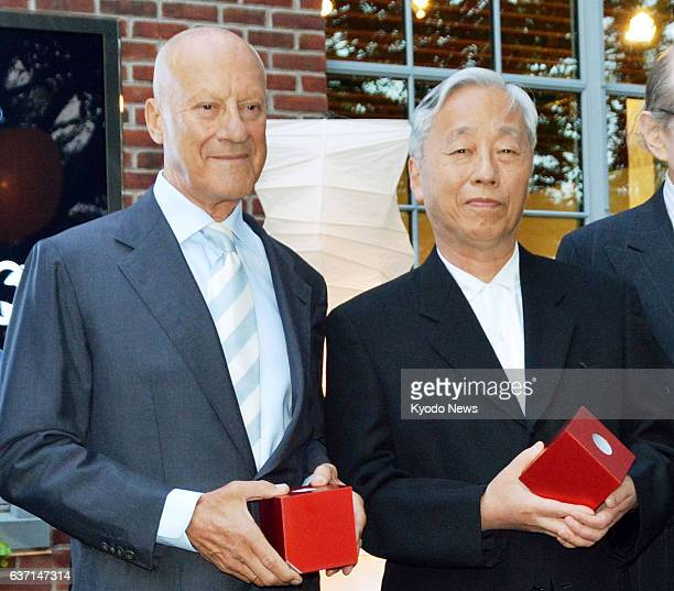 NEW YORK United States Photo shows Japanese contemporary artist Hiroshi Sugimoto and British architect Norman Foster recipients of the inaugural...