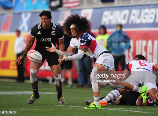 United States player Folau Niua passes the ball against New Zealand during their sevens rugby match at the HSBC USA Sevens rugby tournament on March...