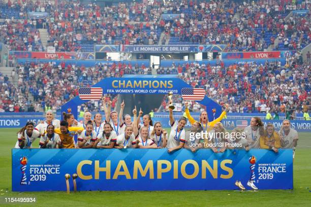 United States players celebrate after the 2019 FIFA Women's World Cup France final match between the Netherlands and the United States at Stade de...
