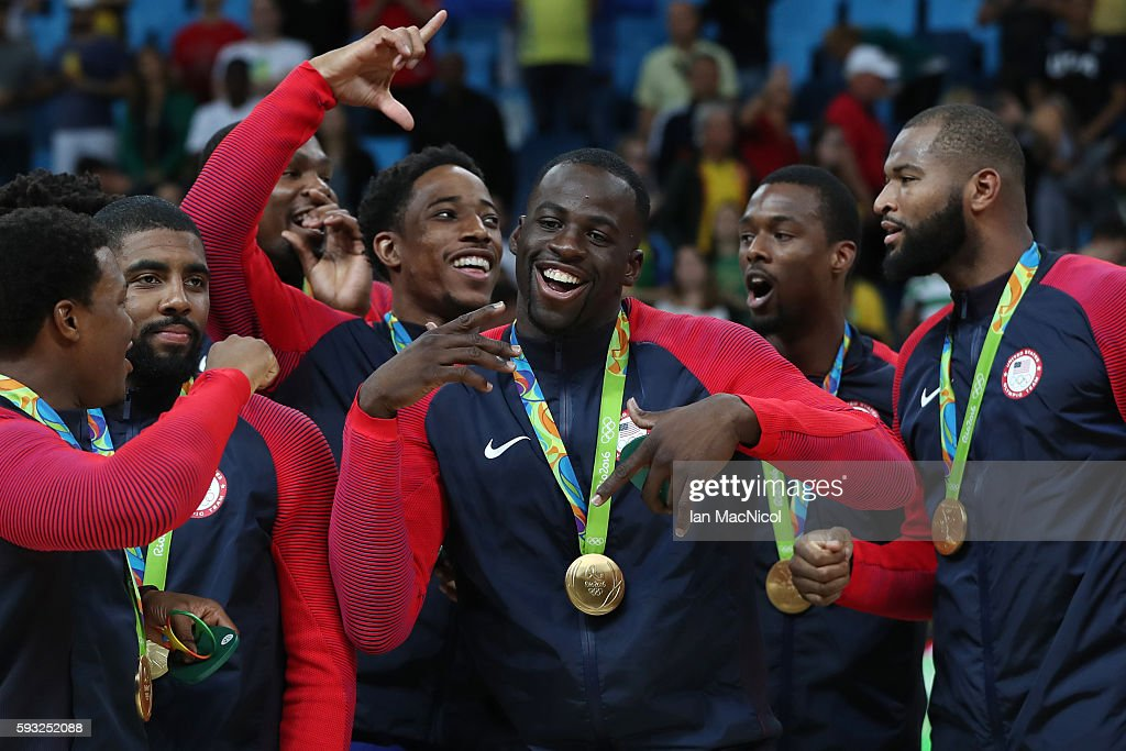 United States players celebrate after the final match of the Men's basketball between Serbia and United States on day 16 at Carioca Arena 1 on August 21, 2016 in Rio de Janeiro, Brazil.