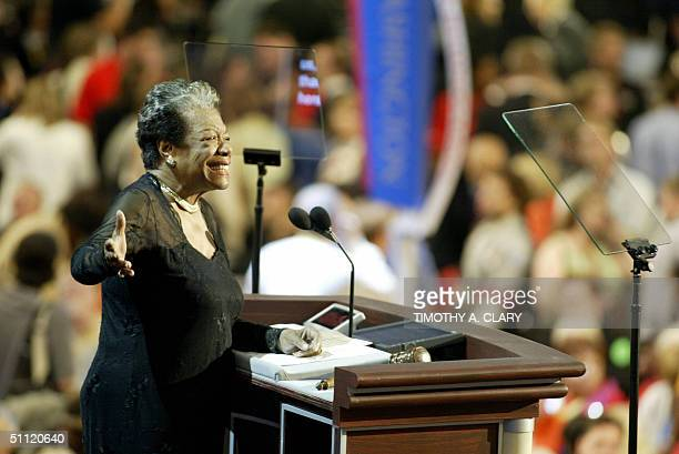 United States: Poet and activist Maya Angelou addresses the Democratic National Convention 27 July in Boston, Massachusetts. Democratic presidential...