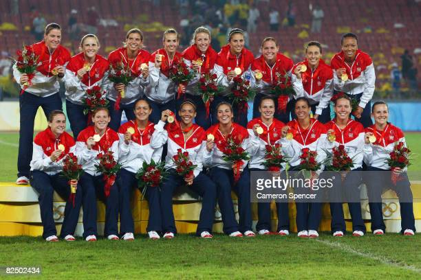 United States pose on the podium with their Gold medals for the Women's Football on Day 13 of the Beijing 2008 Olympic Games on August 21 2008 at...