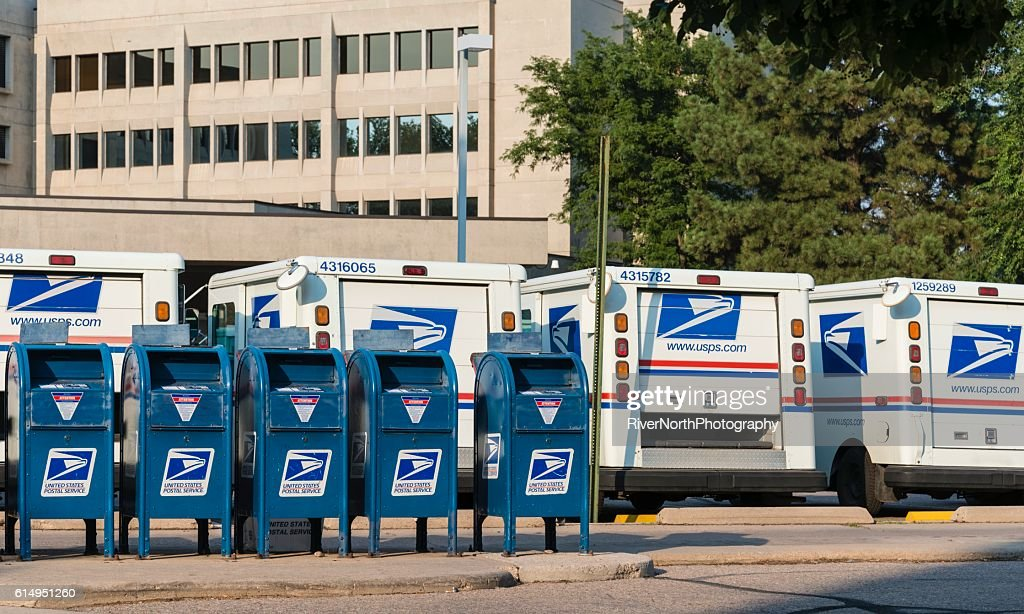 United States Post Office and Mail Trucks : Stock Photo