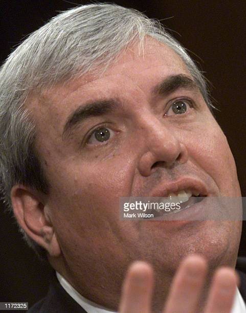 United States Postmaster General John Potter testifies before the Senate Government Affairs Committee on Capitol Hill October 30 2001 in Washington...