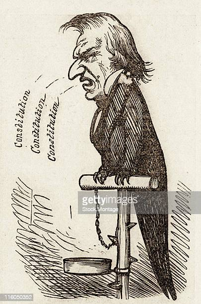 United States president Andrew Johnson is depicted as a bird in a political cartoon published in 1868 The word 'constitution' shown three times...
