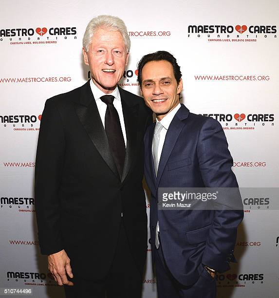 United States President Bill Clinton and Marc Anthony attend Maestro Cares 'Changing Lives Building Dreams' Third Annual Gala at Cipriani Wall Street...