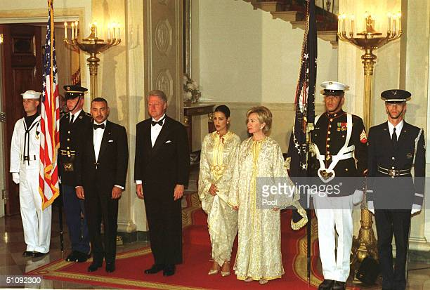 United States President Bill Clinton Fourth From Left Stands In A Receiving Line With King Mohammed Vi Of Marocco Third From Left Prior To A State...