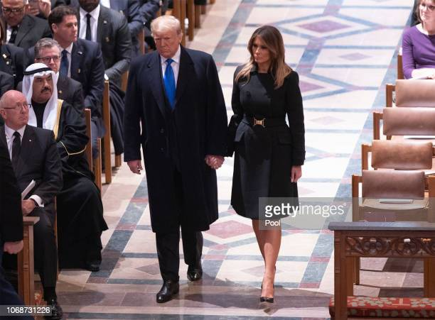 United States President Donald J Trump and First Lady Melania Trump attend the state funeral service of former President George W Bush at the...