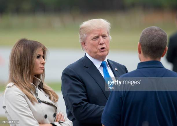 United States President Donald J. Trump and first lady Melania Trump tour the U.S. Secret Service James J. Rowley Training Center October 13, 2017 in...