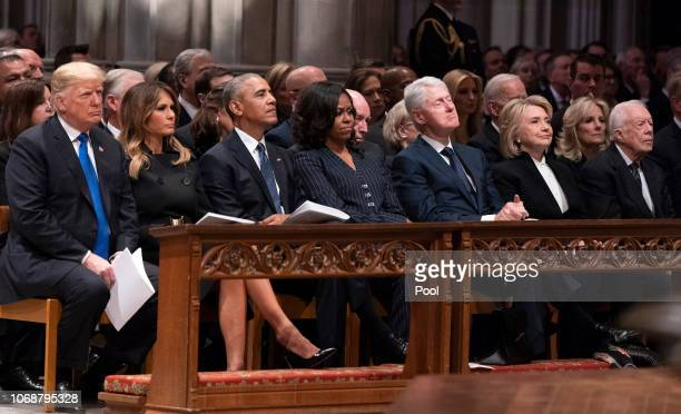 United States President Donald J Trump First Lady Melania Trump former President Barack Obama Michelle Obama Bill Clinton Hillary Clinton and former...