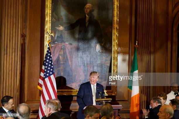 United States President Donald J Trump speaks at the Friends of Ireland luncheon hosted by United States Speaker of the House of Representatives Paul...