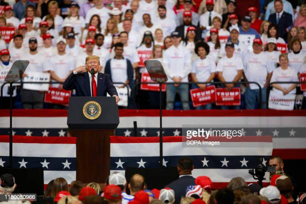 United States President Donald J. Trump speaks during a Keep America Great rally at the Rupp Arena in Lexington.