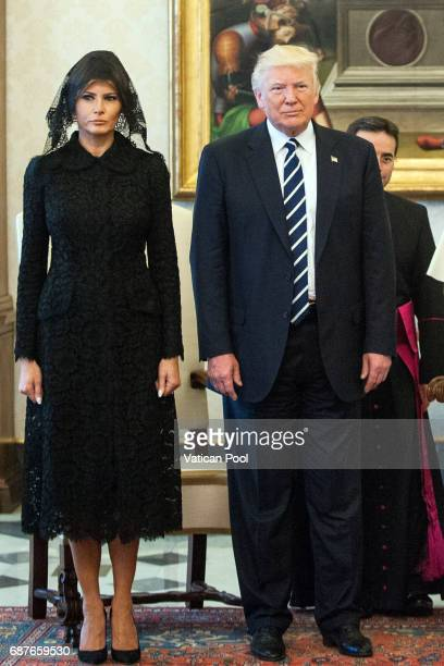 United States President Donald Trump and First Lady Melania Trump attend an audience with Pope Francis at the Apostolic Palace on May 24 2017 in...