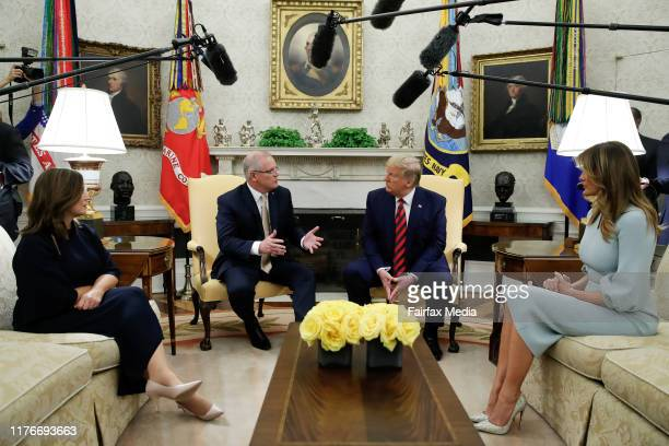United States President Donald Trump and First Lady Melania Trump host Australian Prime Minister Scott Morrison and his wife Jenny Morrison in the...