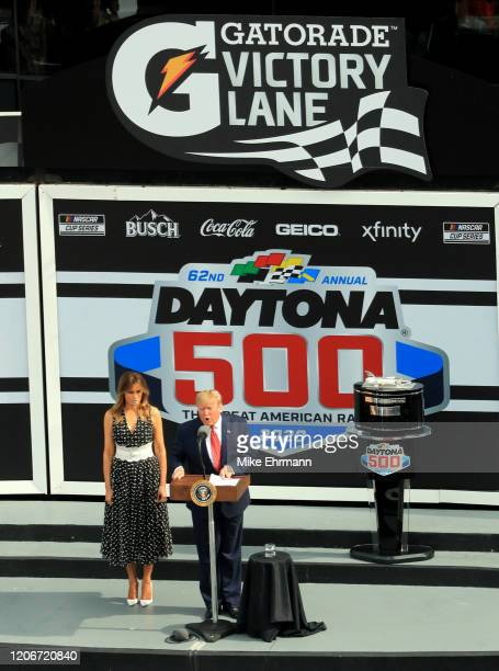 United States President Donald Trump and First Lady Melania Trump speaks to the crowd during the NASCAR Cup Series 62nd Annual Daytona 500 at Daytona...