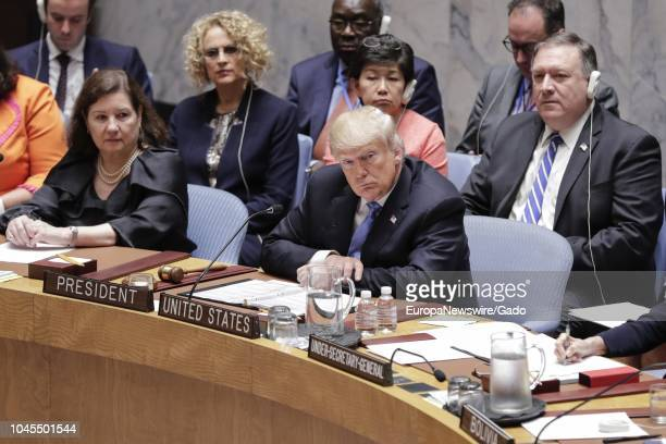 United States President Donald Trump participates in a UN Security Council Meeting on Counter Proliferation at the UN Headquarters in New York City,...