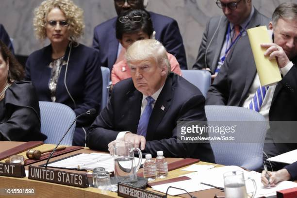 United States President Donald Trump participates in a UN Security Council Meeting on Counter Proliferation at the UN Headquarters in New York City...
