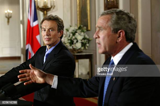 United States President George W. Bush and British Prime Minister Tony Blair conduct a joint press conference in the White House. The two leaders,...
