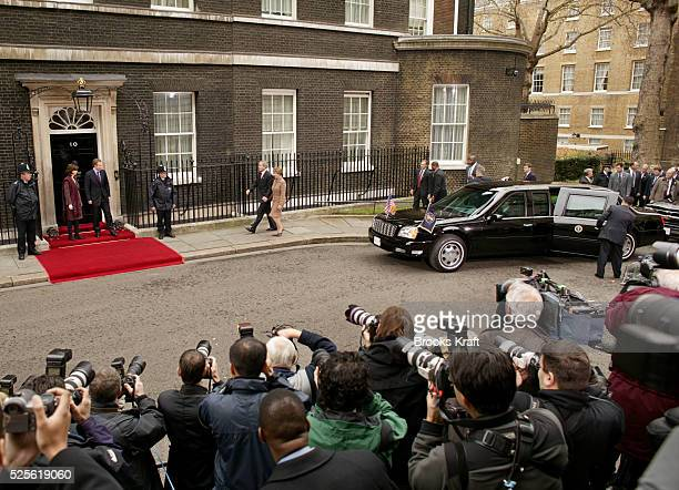 United States President George W Bush and First Lady Laura Bush arrive at 10 Downing Street to meet Britain's Prime Minister Tony Blair and his wife...