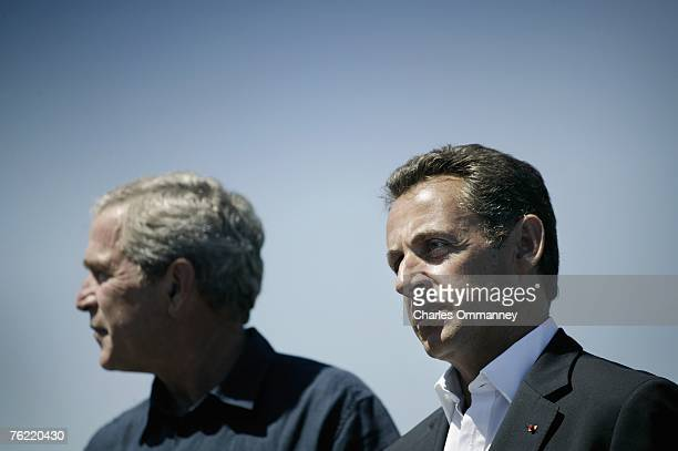 United States President George W Bush greets French President Nicolas Sarkozy on August 11 2007 at the Bush family seaside compound at Walker's Point...