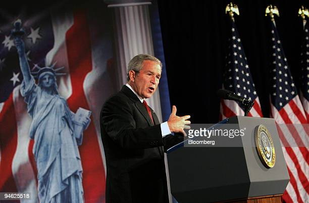 United States President George W Bush outlines his policy on immigration reform at the United States Chamber of Commerce in Washington DC Thursday...
